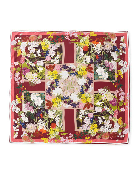 Gillian Double-Sided Floral Silk Scarf, Red/Blue
