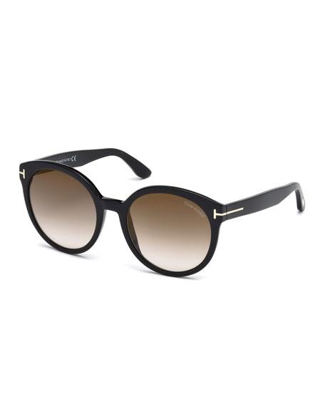 TOM FORD Philippa Round Cat-Eye Sunglasses, Black