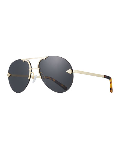 Karen Walker Love Hangover Semi-Rimless Aviator Sunglasses, Brown
