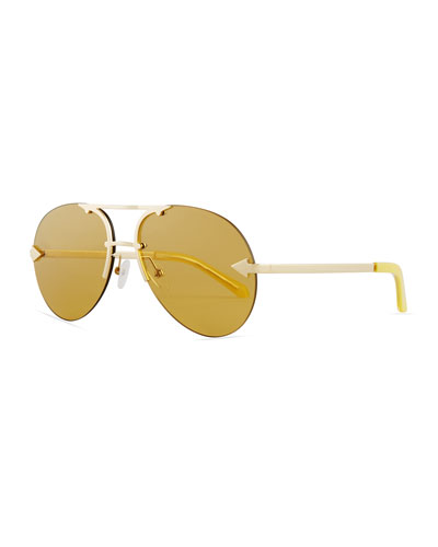 Love Hangover Semi-Rimless Aviator Sunglasses, Gold