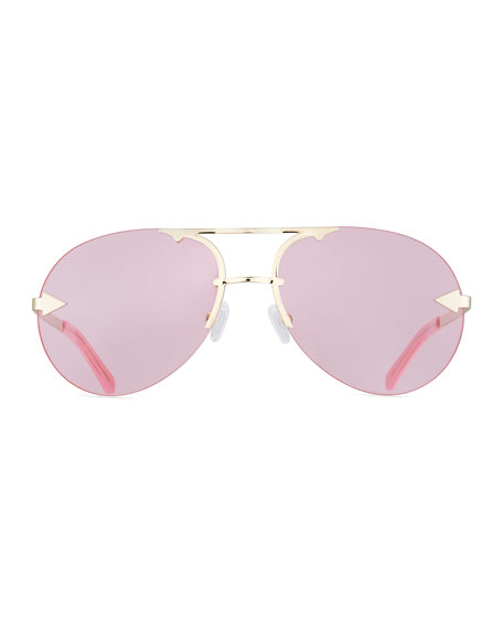 Love Hangover Semi-Rimless Aviator Sunglasses, Pink/Gold