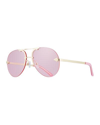 Love Hangover Semi-Rimless Aviator Sunglasses, Pink/Gold