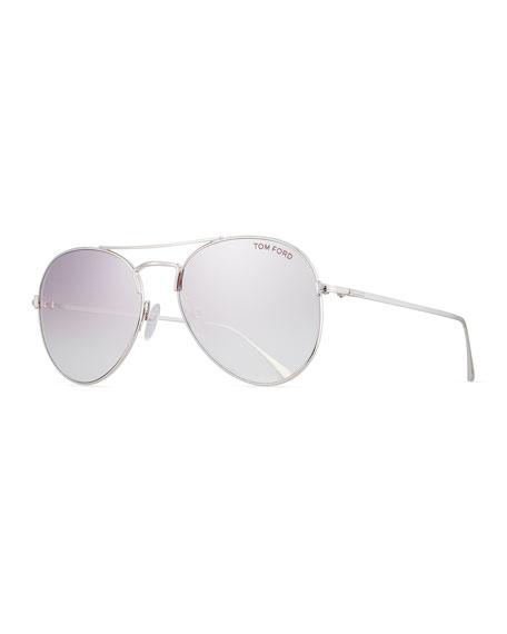 TOM FORD Ace Aviator Sunglasses, Silver