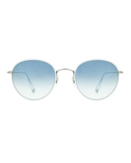 Paloma Round Gradient Sunglasses, Light Blue