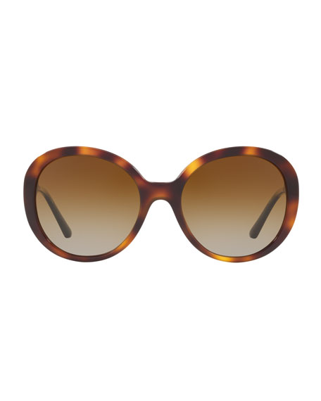 Round Acetate Sunglasses with Check Temple