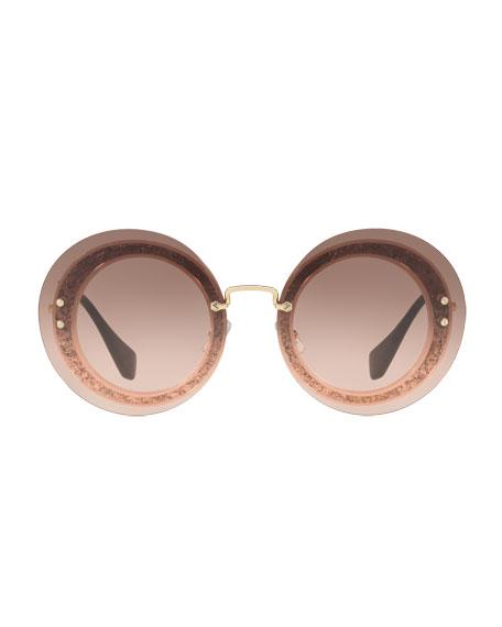 Round Glitter-Illusion Frame Sunglasses