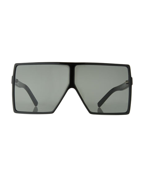 7e594dd6b7c7 Saint Laurent 183 Betty Flat-Top Square Shield Sunglasses