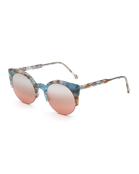 SUPER Lucia Onice Semi-Rimless Sunglasses in Blue Pattern