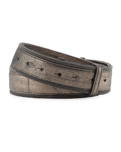 Brushed Metallic Leather Belt