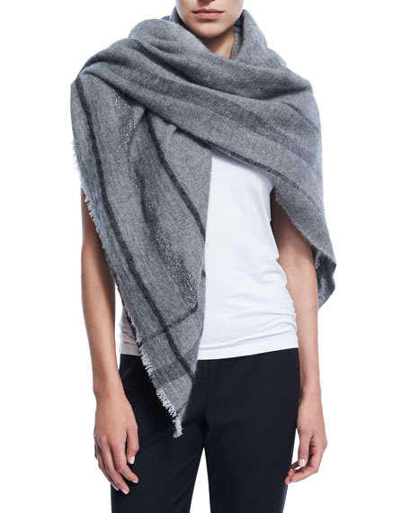 Fringed Plaid Cashmere-Blend Scarf