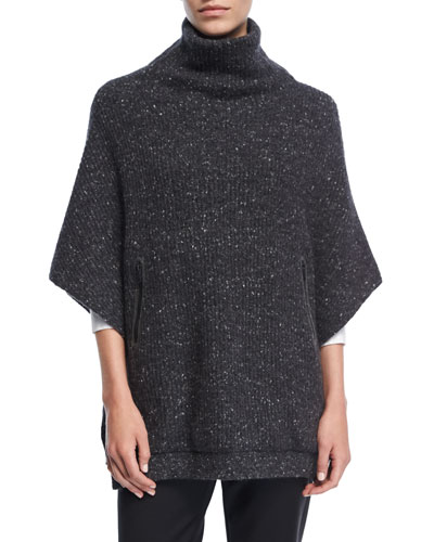 Wool-Blend Tweed Turtleneck Poncho