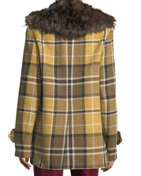 Plaid Coat with Shearling Fur Collar