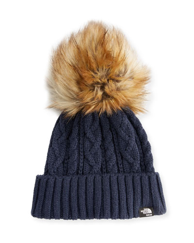 The North Face® Cable Knit Hat with Faux-Fur Pompom