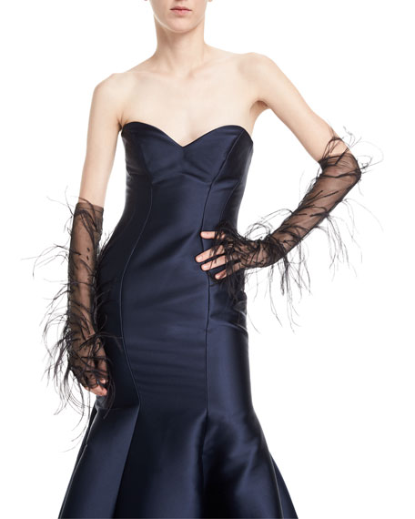 J. Mendel Mesh Ostrich Feather Gloves