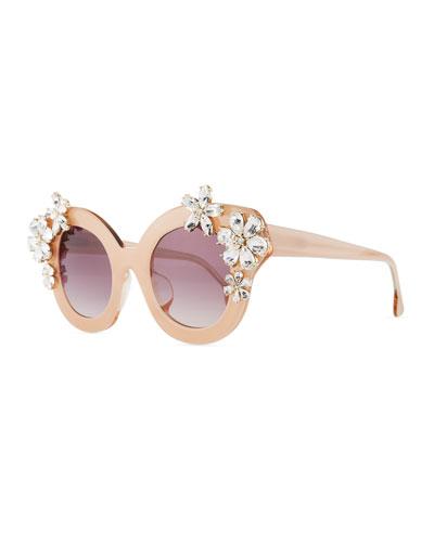 Madison Floral Swarovski® Cat-Eye Sunglasses, Blush