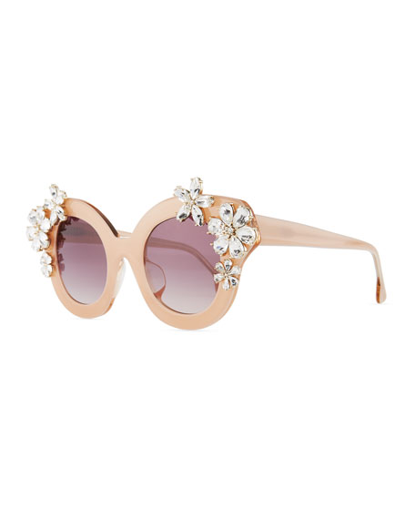 Alice + Olivia Madison Floral Swarovski® Cat-Eye Sunglasses,