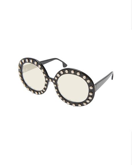 Bel Air Round Pearlescent-Trim Sunglasses
