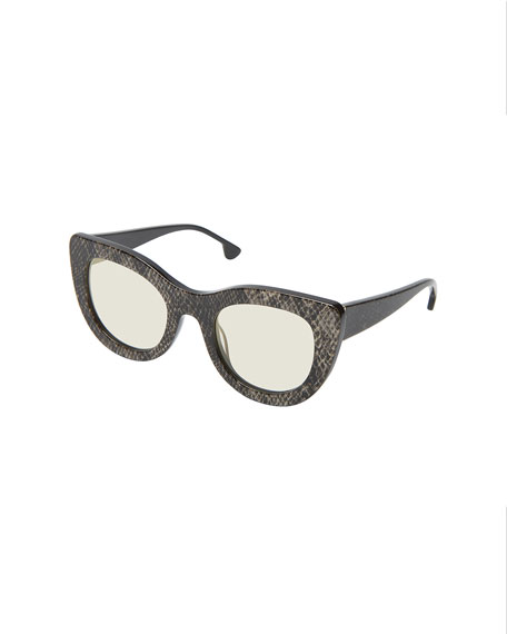 Delancey Cat-Eye Snake-Embossed Sunglasses