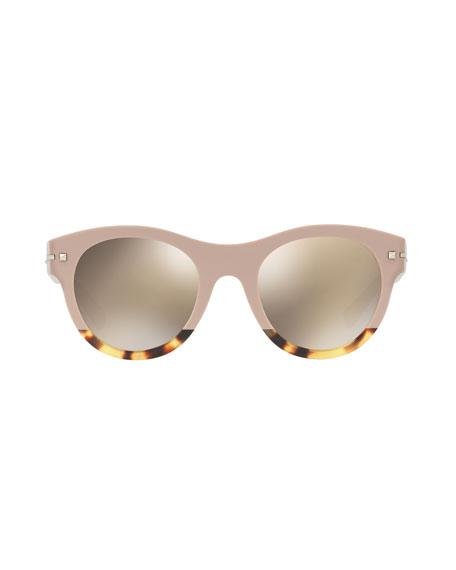 Two-Tone Rockstud Iridescent Sunglasses