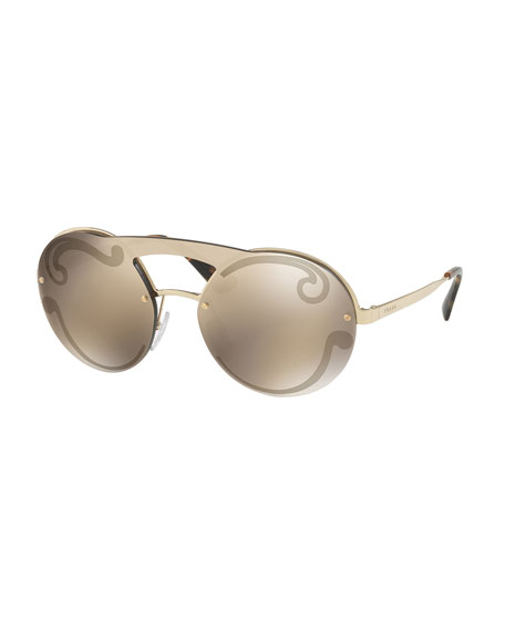 Prada Embossed Round Sunglasses