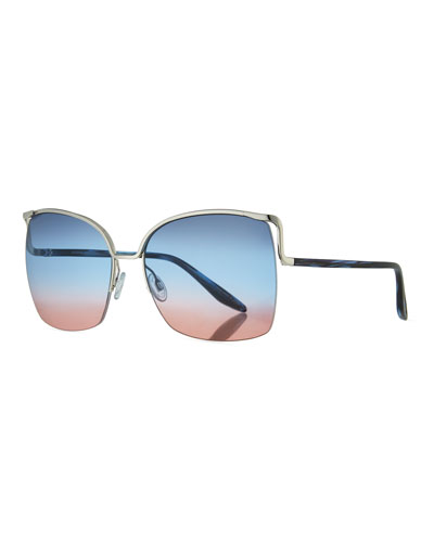 Satdha Semi-Rimless Square Sunglasses, Gray/Metallic