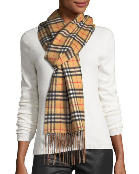 f13230fbbe4 Burberry Cashmere Check-to-Solid Reversible Scarf