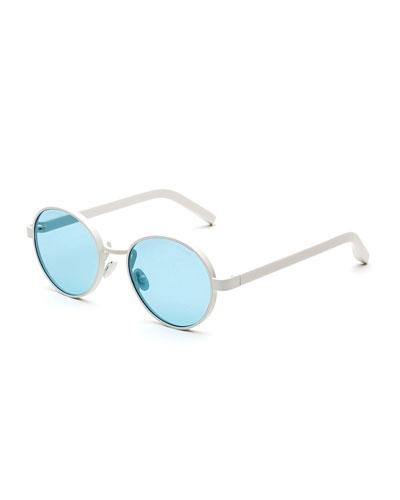 Matte Round Sunglasses, Blue/White