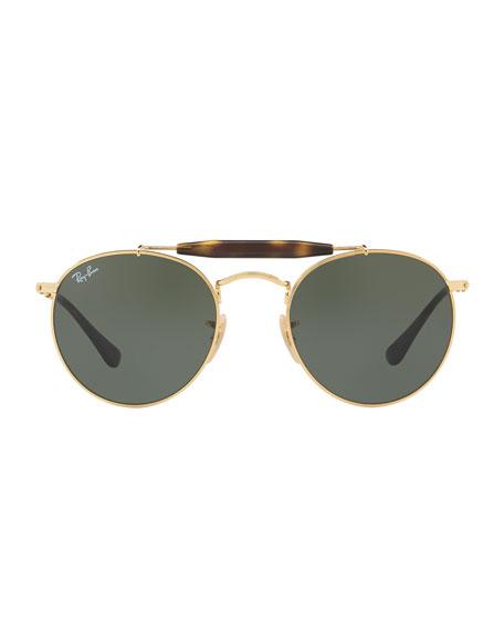 Contrast Brow-Bar Round Sunglasses