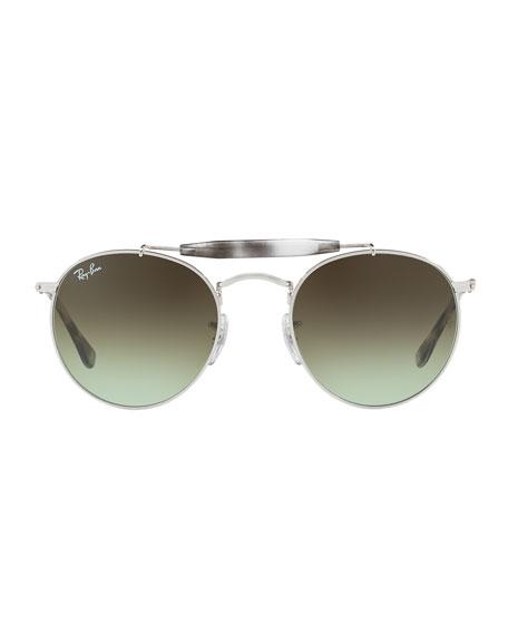 Gradient Contrast Brow-Bar Round Sunglasses