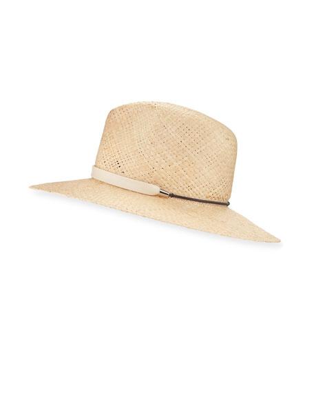Raffia Wide-Brim Basketweave Fedora Hat