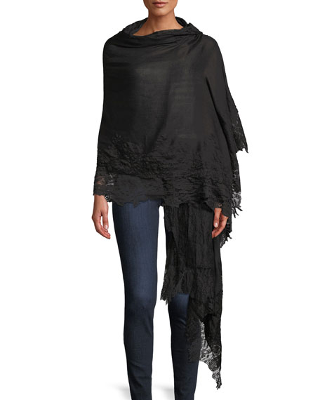 Cashmere Evening Stole Wrap w/ Lace Trim