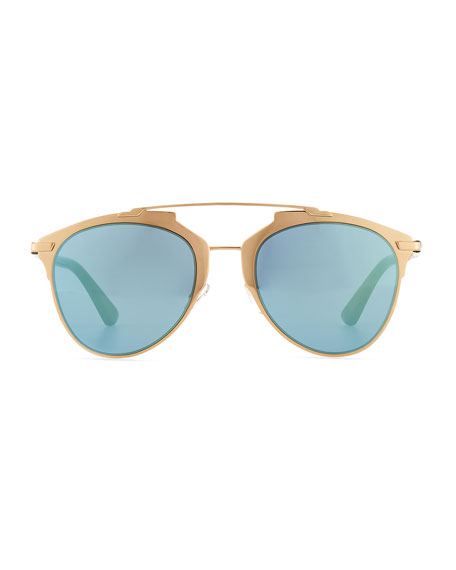 """Dior Reflected"" Two-Tone Aviator Sunglasses, Blue/Gold"