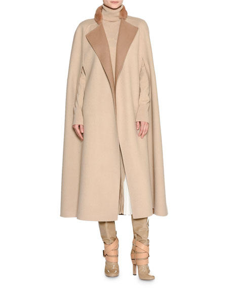 Double-Face Cashmere Cape w/Fur Collar