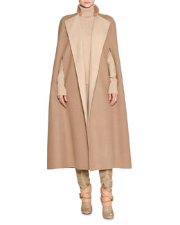 Double-Face Cashmere Cape with Fur Collar