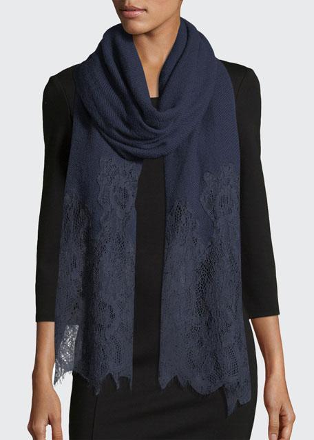 Woven Lace-Trim Shawl