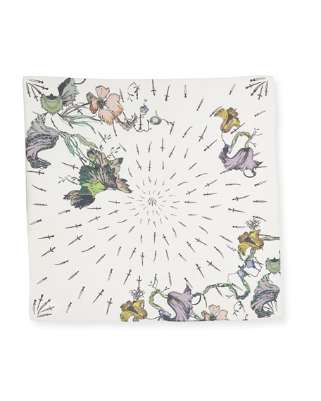 Floral Camo Silk Dagger Scarf