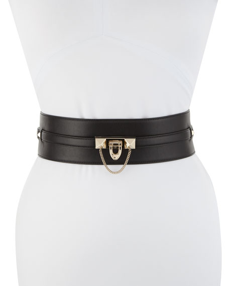 Valentino Wide Lock Calf Leather Belt