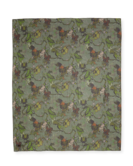 Floral-Print Silk Camo Scarf