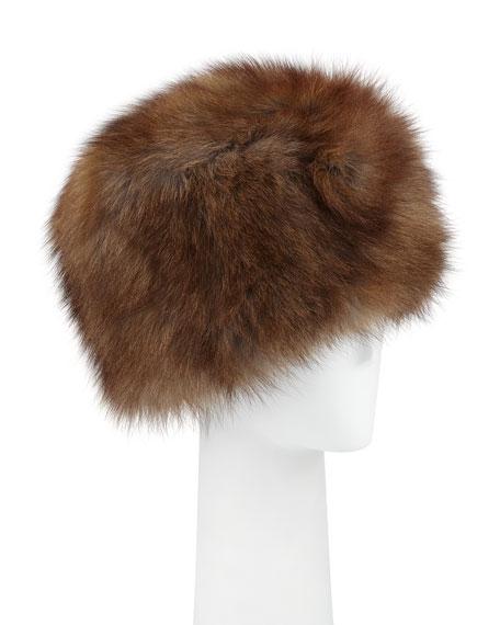 ADRIENNE LANDAU Fox Fur Cap, Brown