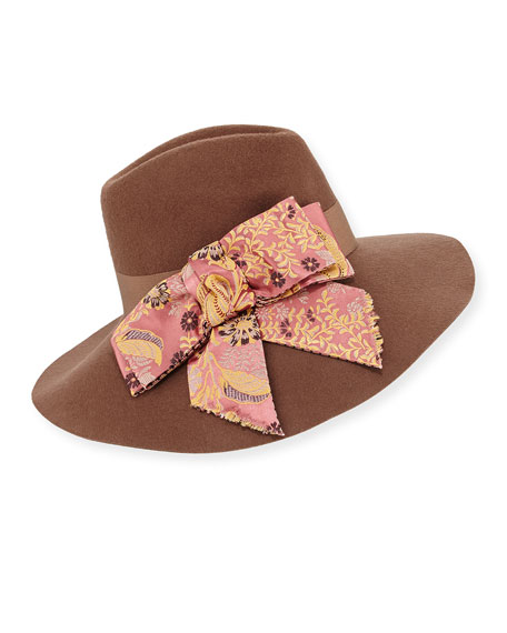 Etro Wool Hat w/ Paisley Bow