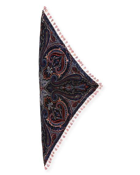 Velvet Triangle Scarf w/ Tassel Fringe