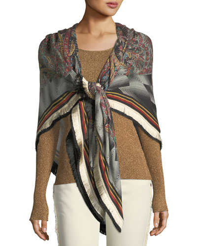 Bombay Wool-Silk Shawl w/ Fringe Border