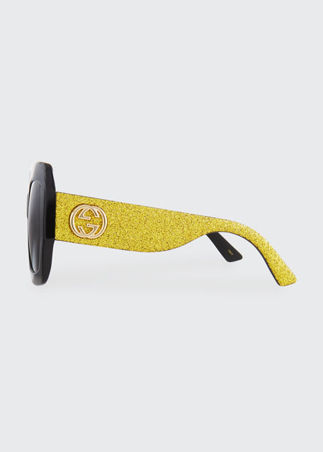 Glittered Square GG Sunglasses