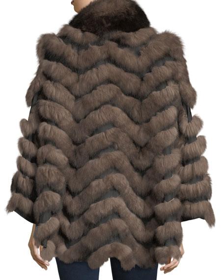 Reversible Fur-Trim Coat, One Size