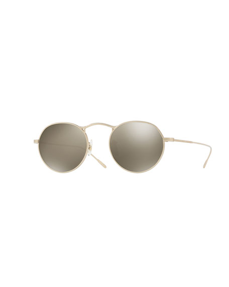 Oliver Peoples M-4 30th Anniversary Mirrored Round Sunglasses