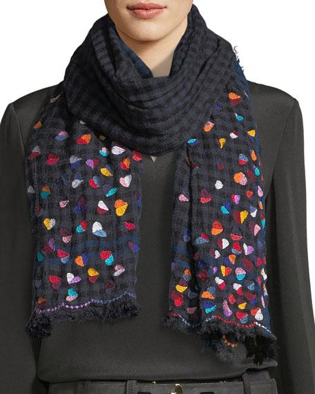 Lovable Wool-Blend Heart Scarf