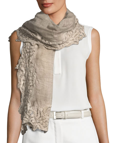 Faliero Sarti Maddina Wool-Blend Lace-Trim Scarf