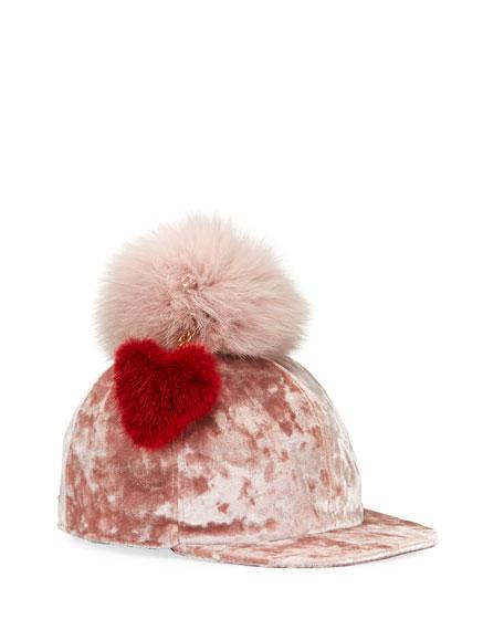 Velvet Baseball Cap w/ Fur Pompom & Heart