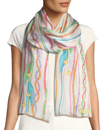 St. Eveline Flower & Charms Silk Scarf