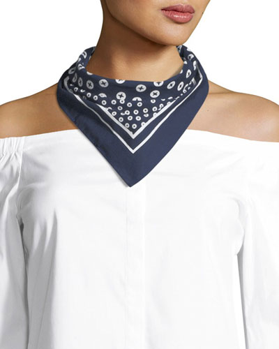 Cotton Bandana Scarf, Navy